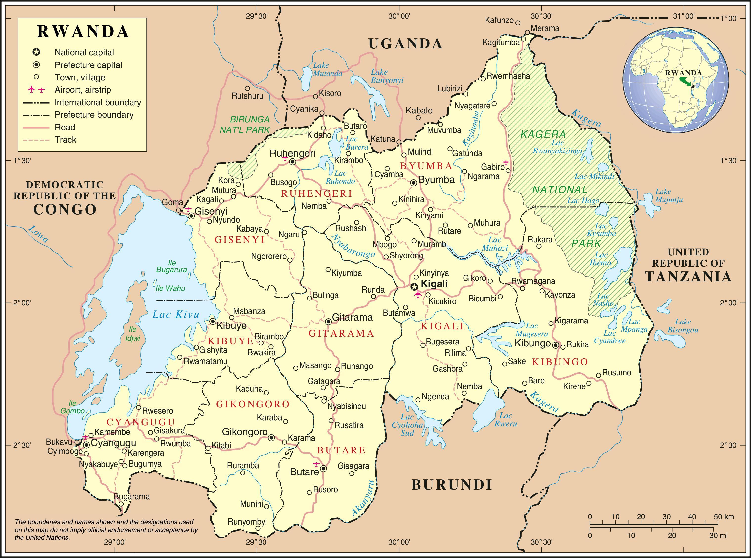 Carta amministrativa del Ruanda - Mappa di carta amministrativa del Ruanda  (Africa Orientale Africa)